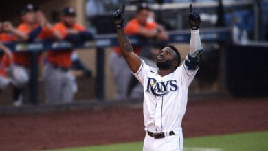 Photo of Rays outfielder Randy Arozarena sets rookie record for most homers in a single postseason