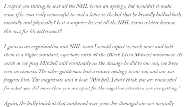 Photo of Mother of Bullied Son Releases Statement to 2020 ARI Draft Pick Mitchell Miller