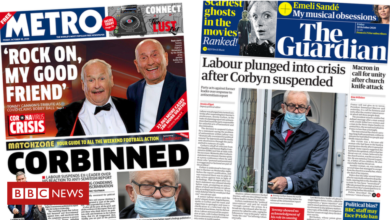 Photo of The Papers: Labour in 'crisis' as Corbyn suspended