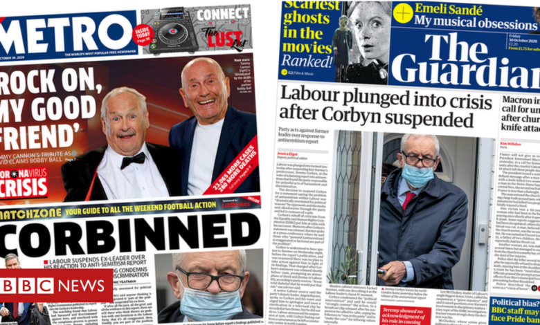 The Papers: Labour in 'crisis' as Corbyn suspended