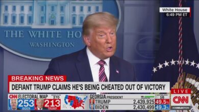 Photo of Election Defiant Trump baselessly claims he was cheated as Biden nears victory