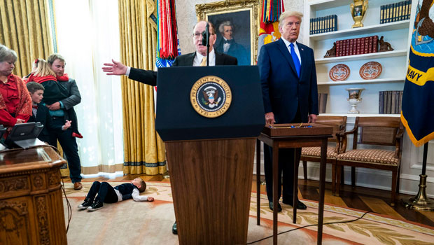Donald Trump Mocked For Abruptly Leaving Oval Office After Dan Gable's Grandkids Lay All Over Floor