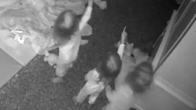 Photo of Triplets see 'ghost' in creepy baby-monitor video