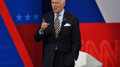 Photo of Biden says he's 'tired of talking' about 'former guy' Trump in first town hall as president